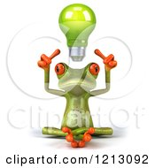 Clipart Of A 3d Springer Frog Sitting With A Light Bulb Above His Head Royalty Free CGI Illustration