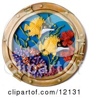 Clay Sculpture Clipart Ship Window Looking Out To Coral Reef Fish Royalty Free 3d Illustration
