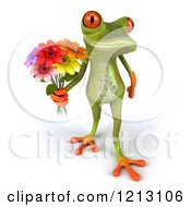 3d Springer Frog Holding A Bouquet Of Flowers 2