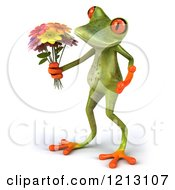 3d Springer Frog Holding A Bouquet Of Flowers 3