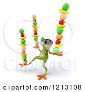 Clipart Of A 3d Springer Frog Wearing Sunglasses And Balancing Fruit On His Hands And A Foot Royalty Free CGI Illustration