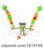 Clipart Of A 3d Springer Frog Wearing Sunglasses And Balancing Fruit On His Hands Royalty Free CGI Illustration