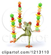 Clipart Of A 3d Springer Frog Balancing Fruit On His Hands And A Foot Royalty Free CGI Illustration