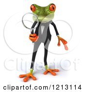Clipart Of A 3d Formal Springer Frog Looking Through A Magnifying Glass Royalty Free CGI Illustration