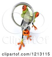 Clipart Of A 3d Formal Springer Frog Looking Through A Magnifying Glass 2 Royalty Free CGI Illustration