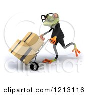 Clipart Of A 3d Formal Springer Frog Wearing Glasses And Pushing Boxes On A Dolly Hand Truck Royalty Free CGI Illustration