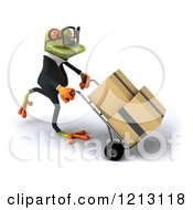 Clipart Of A 3d Formal Springer Frog Wearing Glasses And Pushing Boxes On A Dolly Hand Truck 3 Royalty Free CGI Illustration