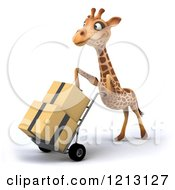 Clipart Of A 3d Giraffe Pushing Boxes On A Dolly Hand Truck Royalty Free CGI Illustration