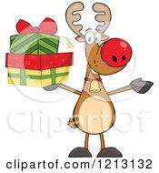 Cartoon Of A Christmas Reindeer Holding Gifts Royalty Free Vector Clipart