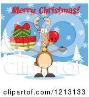 Cartoon Of A Reindeer Holding Gifts Under A Merry Christmas Greeting Royalty Free Vector Clipart by Hit Toon