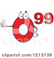 Cartoon Of A Red Ninety Nine Cent Mascot Holding A Thumb Up Royalty Free Vector Clipart by Hit Toon
