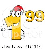 Cartoon Of A Dollar Ninety Nine Cent Mascot With A Santa Hat Holding A Thumb Up Royalty Free Vector Clipart by Hit Toon