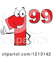 Cartoon Of A Red Dollar Ninety Nine Cent Mascot Holding A Thumb Up Royalty Free Vector Clipart by Hit Toon