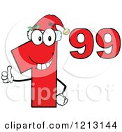 Cartoon Of A Red Dollar Ninety Nine Cent Mascot With A Santa Hat Holding A Thumb Up Royalty Free Vector Clipart by Hit Toon