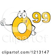 Cartoon Of A Yellow Ninety Nine Cent Mascot Holding A Thumb Up Royalty Free Vector Clipart by Hit Toon