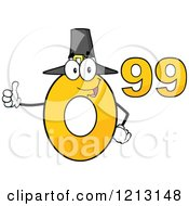 Cartoon Of A Yellow Ninety Nine Cent Mascot With A Pilgrim Hat Holding A Thumb Up Royalty Free Vector Clipart by Hit Toon