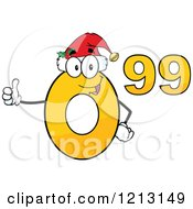 Cartoon Of A Yellow Ninety Nine Cent Mascot With A Santa Hat Holding A Thumb Up Royalty Free Vector Clipart by Hit Toon