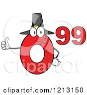 Cartoon Of A Red Ninety Nine Cent Mascot With A Pilgrim Hat Holding A Thumb Up Royalty Free Vector Clipart by Hit Toon