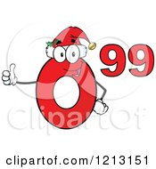 Cartoon Of A Red Ninety Nine Cent Mascot With A Santa Hat Holding A Thumb Up Royalty Free Vector Clipart by Hit Toon