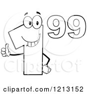 Cartoon Of An Outlined Dollar Ninety Nine Cent Mascot Holding A Thumb Up Royalty Free Vector Clipart by Hit Toon