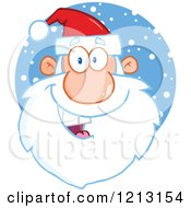 Cartoon Of A Jolly Santa Face Over Snow Royalty Free Vector Clipart by Hit Toon