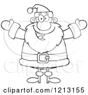 Cartoon Of An Outlined Jolly Santa Holding His Arms Wide Royalty Free Vector Clipart