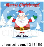 Cartoon Of A Jolly Santa Holding His Arms Wide Under Merry Christmas Text In The Snow Royalty Free Vector Clipart by Hit Toon