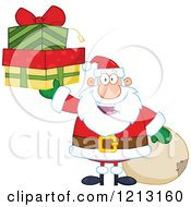 Cartoon Of A Jolly Santa Holding Christmas Gifts By A Sack Royalty Free Vector Clipart