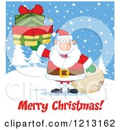 Cartoon Of A Jolly Santa Holding Christmas Gifts By A Sack Over A Merry Christmas Greeting Royalty Free Vector Clipart by Hit Toon
