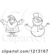 Cartoon Of An Outlined Happy Santa And Snowman Royalty Free Vector Clipart by Hit Toon