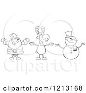 Cartoon Of An Outlined Happy Santa Snowman And Reindeer Royalty Free Vector Clipart by Hit Toon