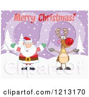 Cartoon Of A Happy Santa And Reindeer Under Merry Christmas Text Royalty Free Vector Clipart by Hit Toon