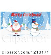 Cartoon Of A Happy Santa And Snowman Under Merry Christmas Text Royalty Free Vector Clipart by Hit Toon
