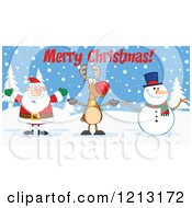 Cartoon Of A Happy Santa Snowman And Reindeer With Merry Christmas Text Royalty Free Vector Clipart by Hit Toon