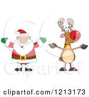 Cartoon Of A Happy Santa And Reindeer Royalty Free Vector Clipart