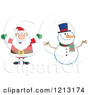 Cartoon Of A Happy Santa And Snowman Royalty Free Vector Clipart by Hit Toon