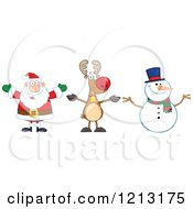 Cartoon Of A Happy Santa Snowman And Reindeer Royalty Free Vector Clipart by Hit Toon