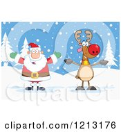 Cartoon Of A Happy Santa And Reindeer In The Snow Royalty Free Vector Clipart