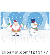 Cartoon Of A Happy Santa And Snowman Outdoors Royalty Free Vector Clipart by Hit Toon