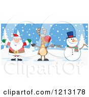 Cartoon Of A Happy Santa Snowman And Reindeer Outdoors Royalty Free Vector Clipart by Hit Toon