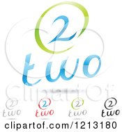 Clipart Of Abstract Number 2 Icons With Two Text Under The Digit 9 Royalty Free Vector Illustration