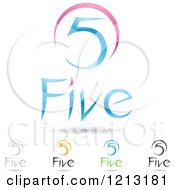 Clipart Of Abstract Number 5 Icons With Five Text Under The Digit 6 Royalty Free Vector Illustration