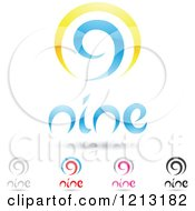 Clipart Of Abstract Number 9 Icons With Nine Text Under The Digit 2 Royalty Free Vector Illustration