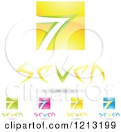 Clipart Of Abstract Number 7 Icons With Seven Text Under The Digit 5 Royalty Free Vector Illustration by cidepix