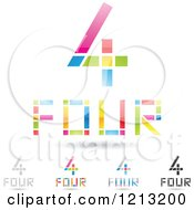 Clipart Of Abstract Number 4 Icons With Four Text Under The Digit 8 Royalty Free Vector Illustration by cidepix