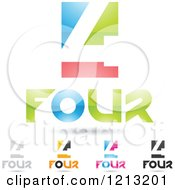 Clipart Of Abstract Number 4 Icons With Four Text Under The Digit 9 Royalty Free Vector Illustration