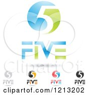 Clipart Of Abstract Number 5 Icons With Five Text Under The Digit 4 Royalty Free Vector Illustration