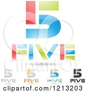 Clipart Of Abstract Number 5 Icons With Five Text Under The Digit 3 Royalty Free Vector Illustration