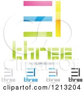 Clipart Of Abstract Number 3 Icons With Three Text Under The Digit 8 Royalty Free Vector Illustration