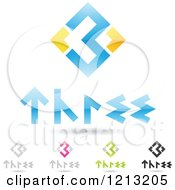Clipart Of Abstract Number 3 Icons With Three Text Under The Digit 9 Royalty Free Vector Illustration